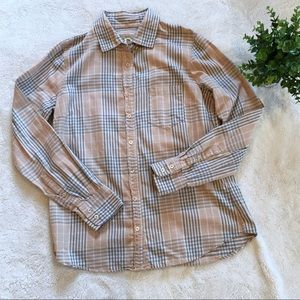 J. Crew peach plaid cotton button down shirt 6